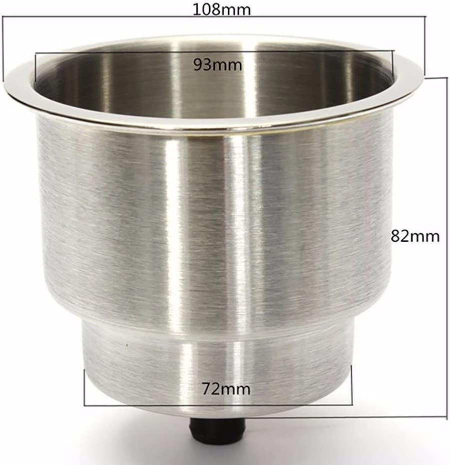 Stainless Steel Cup Drink Holder with LED Light Drain Marine Boat RV Truck