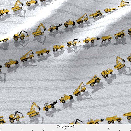 Crane Truck Fabric Construction Trucks by Gabriellemutel Printed on Eco Canvas Fabric by the Yard by Spoonflower (Eco Truck Excavator)