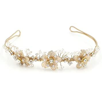 Butterme Bridal Vintage Flower Crystal Rhinestone Amazon Co Uk