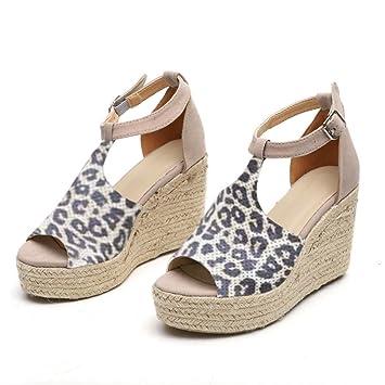 f8850fb4c2fc5 Amazon.com: ❤ Mealeaf ❤ Women Fashion Flock Leopard Wedges ...