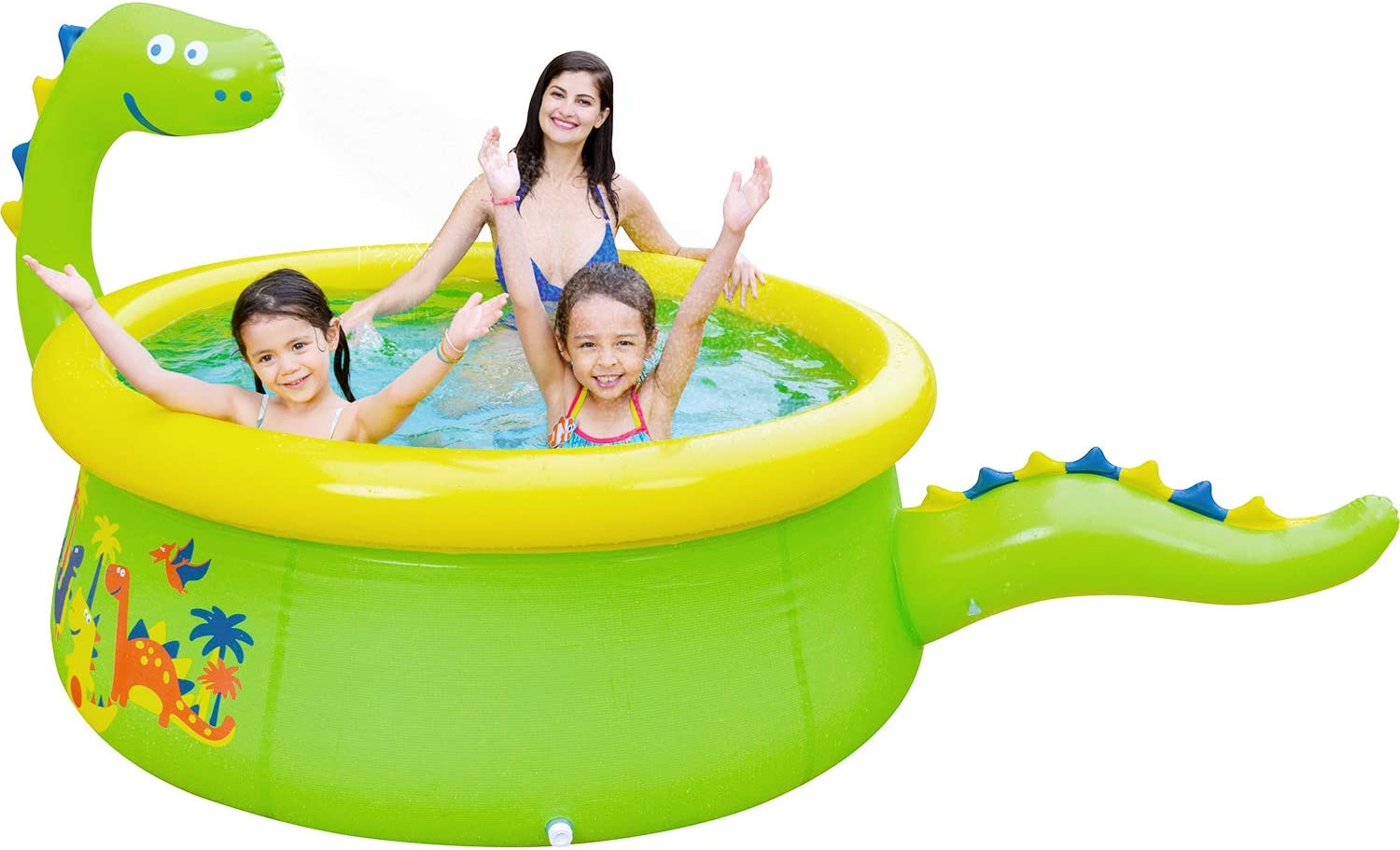 "Lunvon Inflatable Swimming Pool for Kids, Dinosaur Pool Sprinkler Water Toys, Size 70"" X 25"", Kiddie Pool for Age 3+, Upgrade Green: Home & Kitchen"
