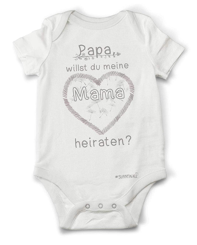 Papa Willst Du Meine Mama Heiraten? | Baby Body Strampler Bodysuite 100% Bio Baumwolle Unisex
