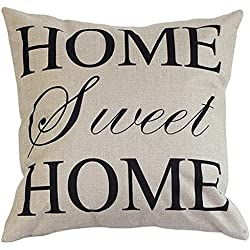 """Onker Cotton Linen Square Decorative Throw Pillow Case Cushion Cover 18"""" x 18"""" Home Sweet Home Love in Simple Words"""
