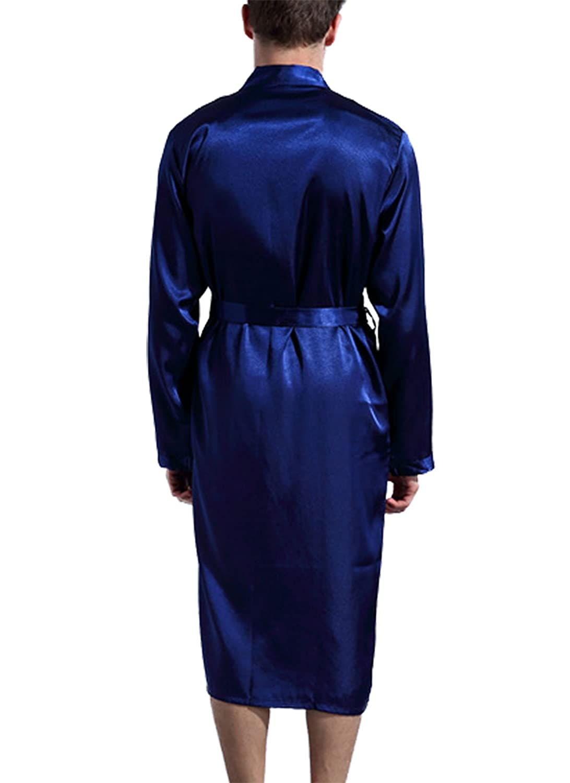 Asskyus Vestido de Kimono con Bata de sat/én Ligero para Dormir Estilo Largo de Albornoz