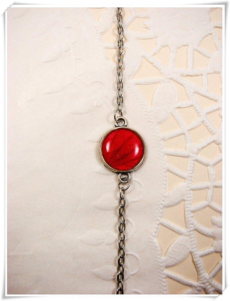 Pulsera de pequeño color rojo, pulsera de moda, joyas de flores rojas, joyería de cristal cúpula hecha a mano