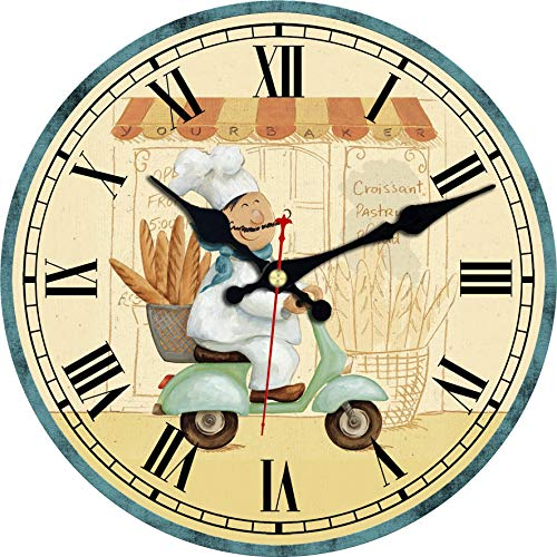 - ShuaXin Bakers Print on Paper Cover Wall Clocks, Slient Round Wall Decorative Art in Bakery, Kitchen and Cafe Decorations (16