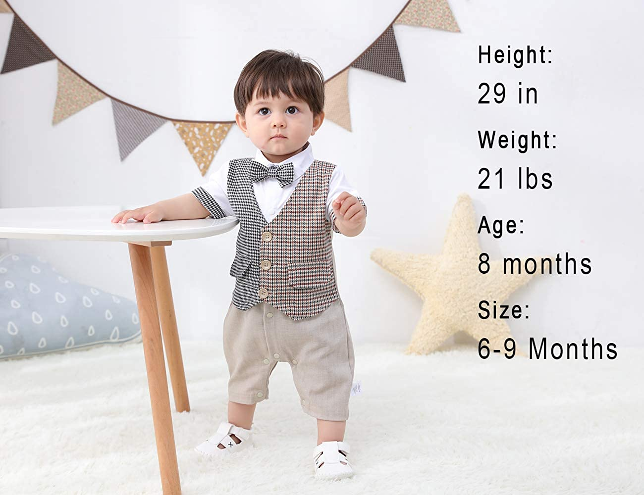 HOSUKKO Baby Boy Clothes Outfit One-Piece Rompers with Beret and Bow Tie