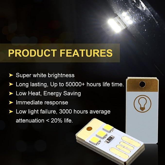 10 x Mini USB LED Luz Chip de un Solo Lado Luz de Noche Portátil Llavero Acampar Computadora luz de Reserva Blanco Puro