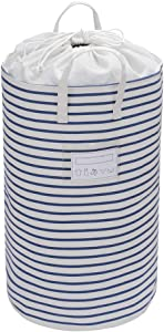 "Xingte 22.8"" Collapsible Laundry Hamper Basket Drawstring Closure for Dust-Proof Kids Nursery Hamper, Blue Stripe-with Tips Card"