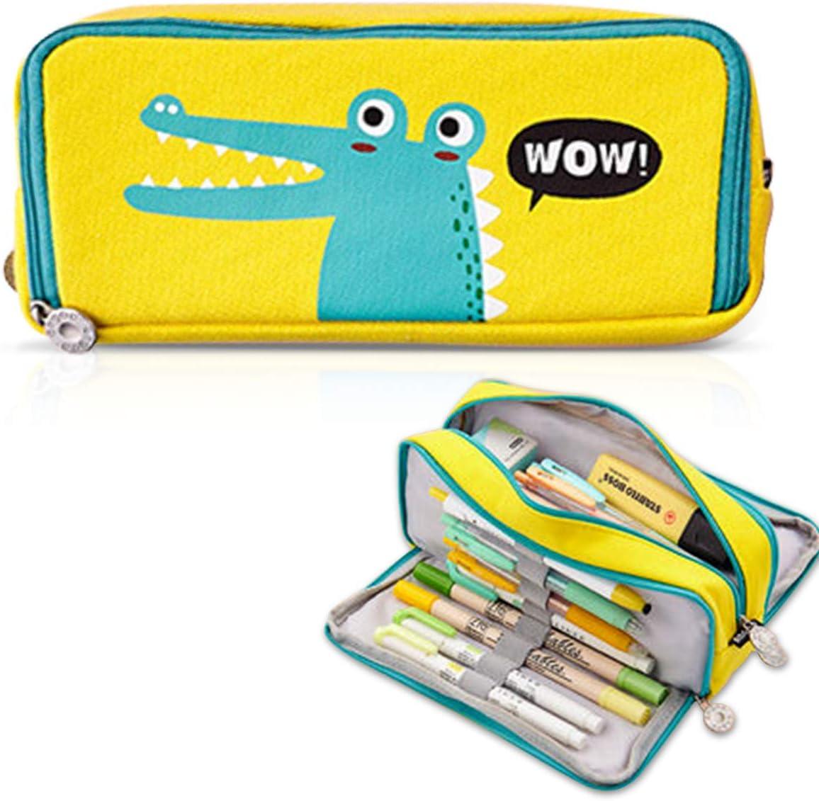 iSuperb Estuche de lápices Caja Gran Capacidad Bolsa Case con Cremallera de Escolar Cartoon Pencil Case Lindo Plumier Organizador de papelería Bolsa de Cosméticos para Muje (Amarillo): Amazon.es: Oficina y papelería