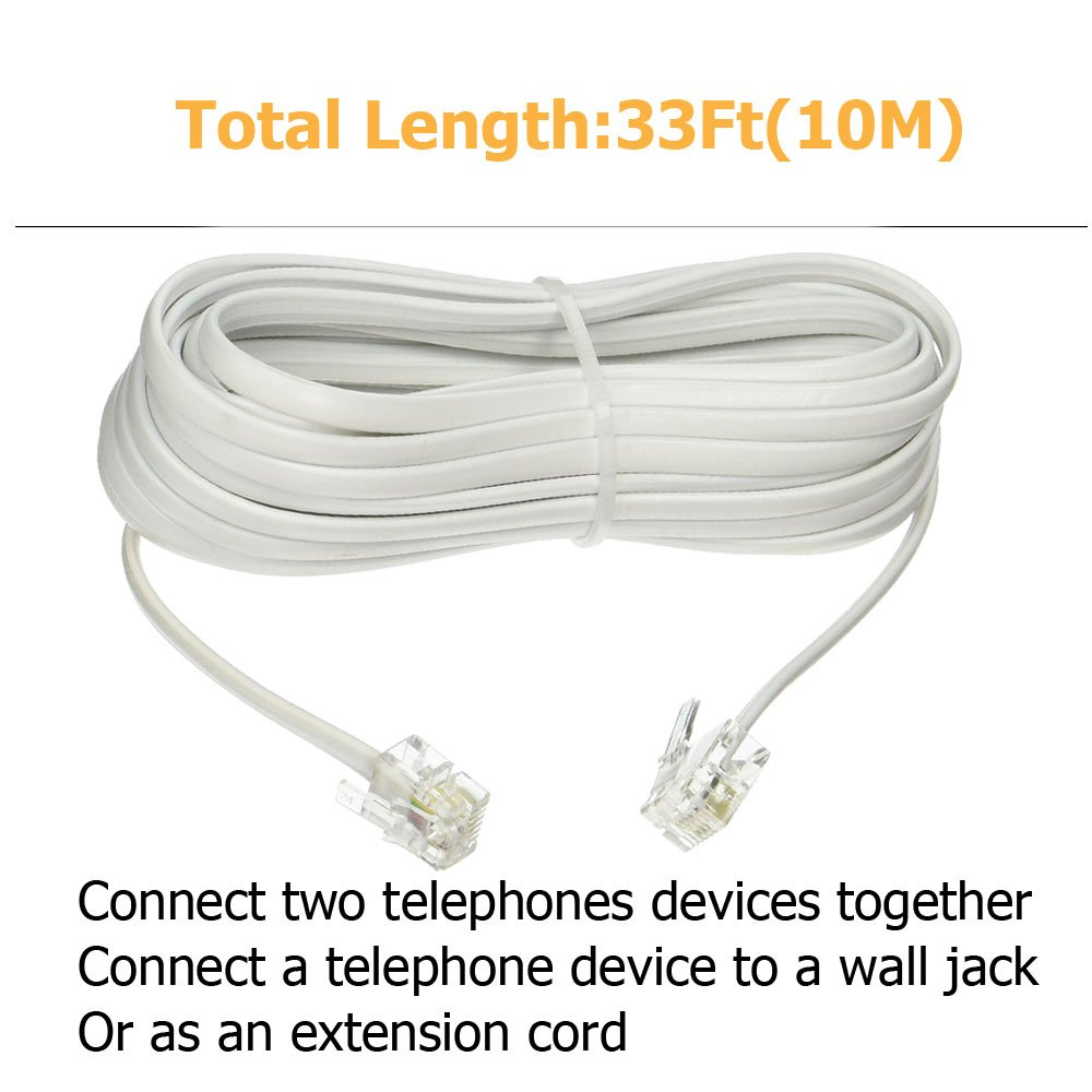 2 Packs White Uvital RJ11 Plug 1 to 2 Dual Phone Line Splitter Wall Jack Split into Two Modular Converter Adapter for Office Home ADSL DSL Fax Model Cordless Phone System
