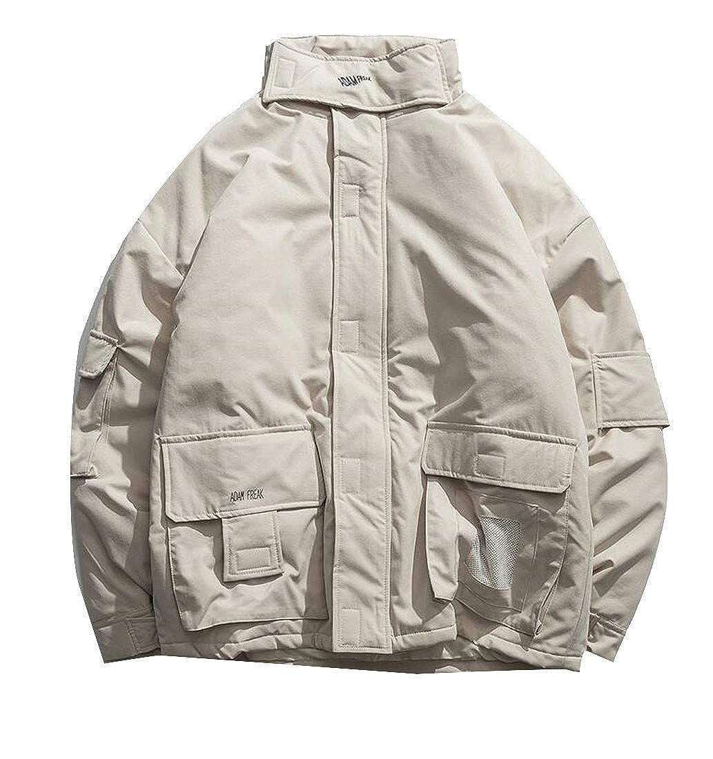 Joe Wenko Mens Jacket Vogue Slim Cotton-Padded Cargo Overcoat Parkas Coat
