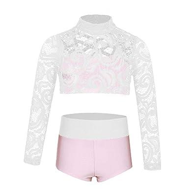 6f06b93254a2b dPois Enfant Fille Haut de Danse Gymnastique Ballet T-Shirt Dentelle  Manches Longues Short Court