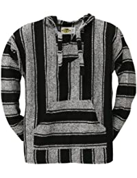 Old Glory - Mens Stripe Woven Baja Hoodie - Small Black