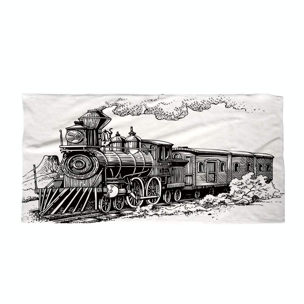 Cotton Microfiber Beach Towel,Steam Engine,Rustic Old Train in Country Locomotive Wooden Wagons Rail Road with Smoke,Black and White,for Kids, Teens, and Adults
