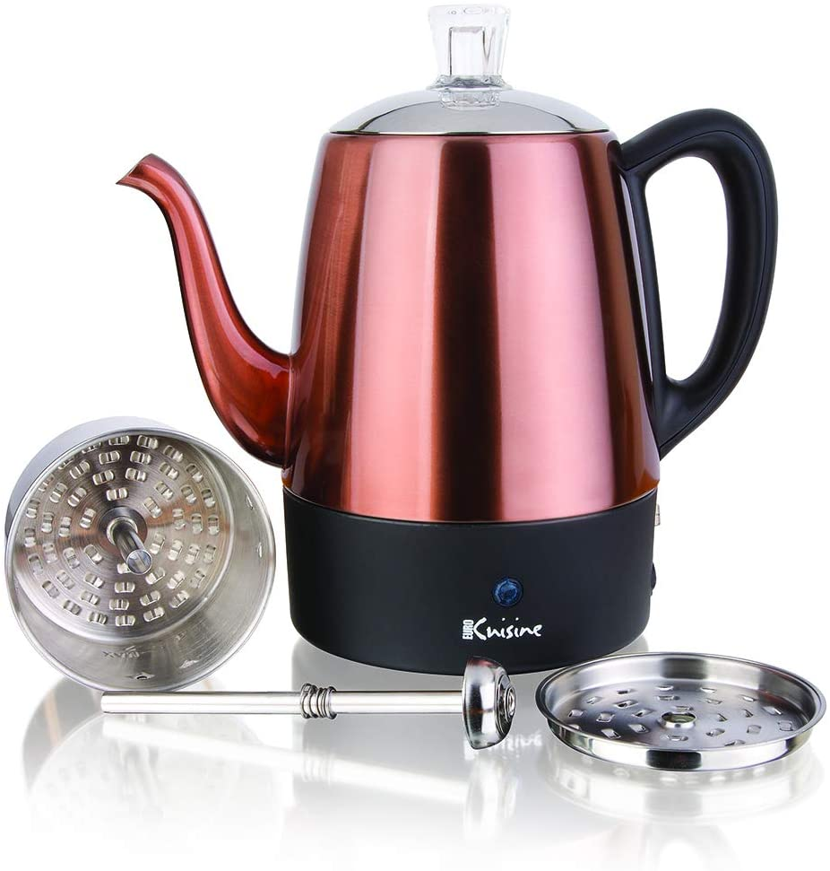 Euro Cuisine PER04 Electric Percolator 4 Cup Stainless Steel Coffee Pot Maker 4 Cup