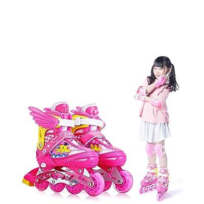 AIAIⓇ Children Inline Roller Skates Full Set Kids Boys and Girls Adjustable Inline Skates Upgrade Flash Beginners Teen Adults Men and Women Roller Blade pu: Home & Kitchen