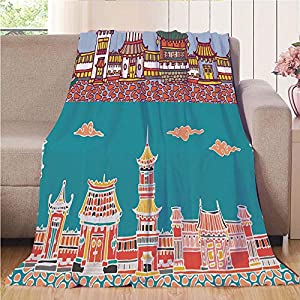 """Throw Blanket Custom Cozy Blanket Perfect for Couch Sofa or Bed Beautiful 3D Printed,Ancient China Decorations,Panorama Drawing of Far Eastern Old Towns Traditional Structure,Multicolor,31.50""""W x 4 74"""