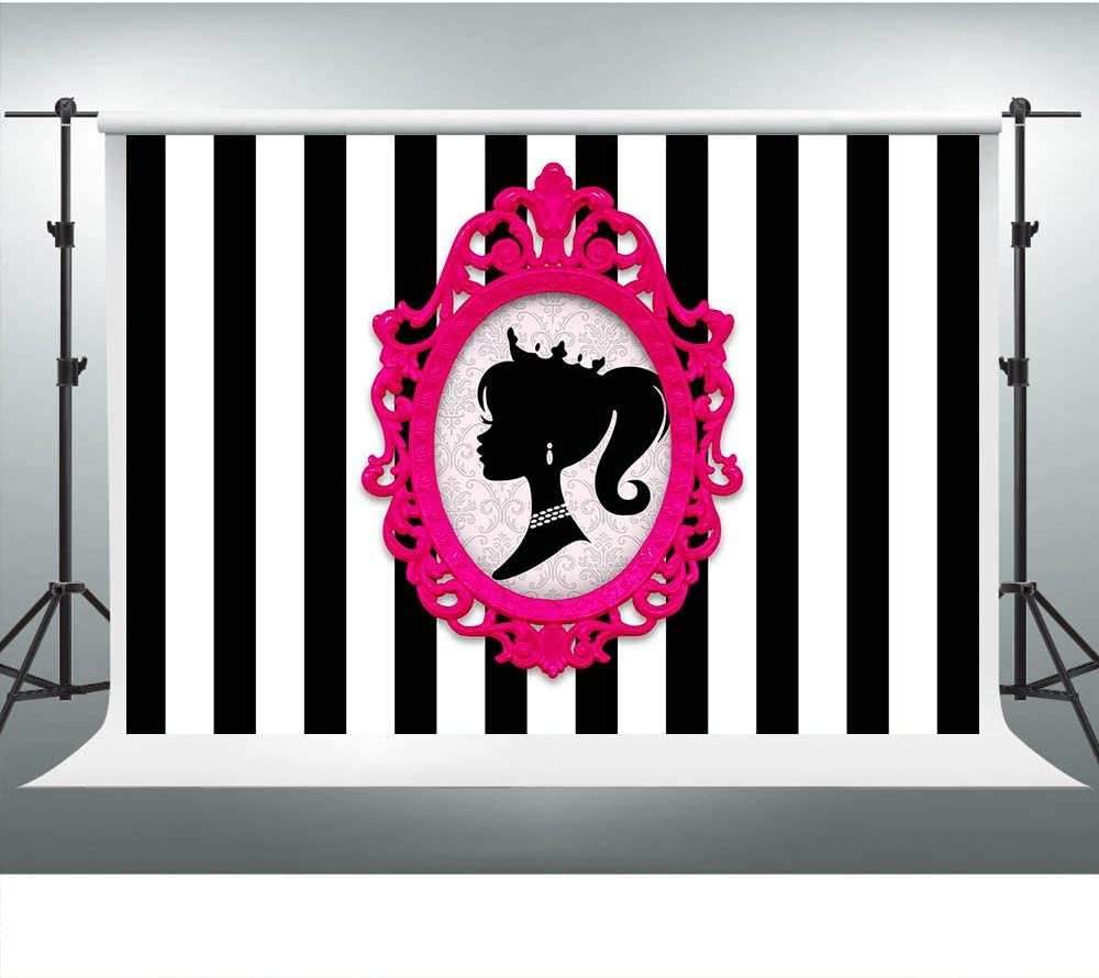 Black and White Stripes Backdrop Doll Head Photo Frame Background for Barbie Themed Party 7x5ft Glamour Girl Birthday Party Banner Cake Table Decorations LSVV903