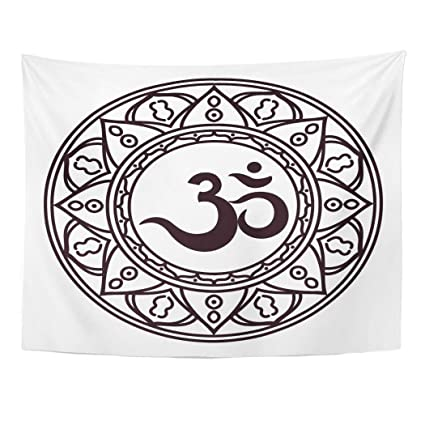 Amazon Com Emvency Wall Tapestry Om Aum Indian Sacred Sound