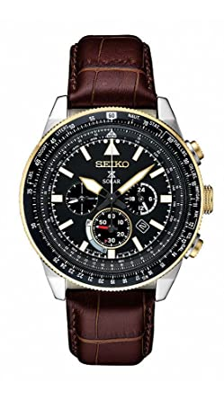 c02beee71 Amazon.com: Seiko Men's Prospex Solar Chronograph With Brown Leather Strap:  Watches