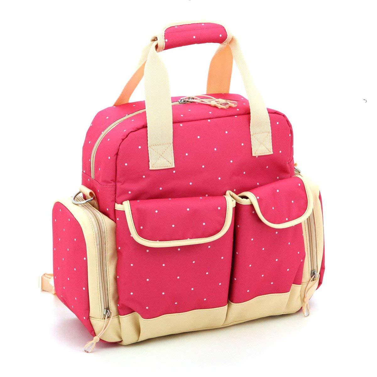 Gugutogo Multifunzionale di Grande capienza Zaino Tasche Multiple di Stampa del Modello Mummy Bag (rosa Rossa)