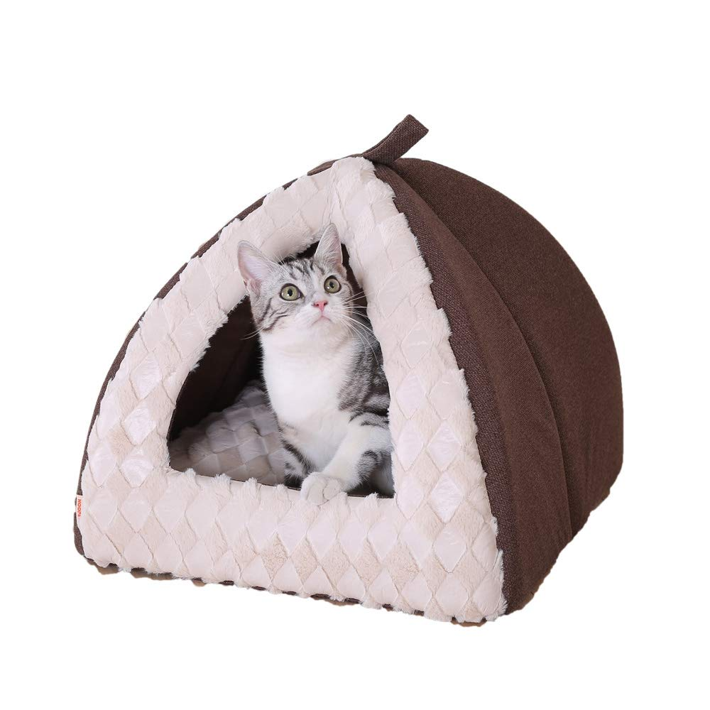 Brown Small Brown Small Cat Litter semi-Closed yurt cat House pet Bed cat House Small Tent,Brown,S