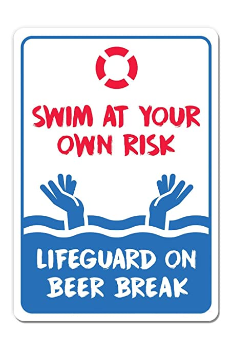Amazon.com : Nellie Beck Pool Rules Signs Swim at Your Own ...
