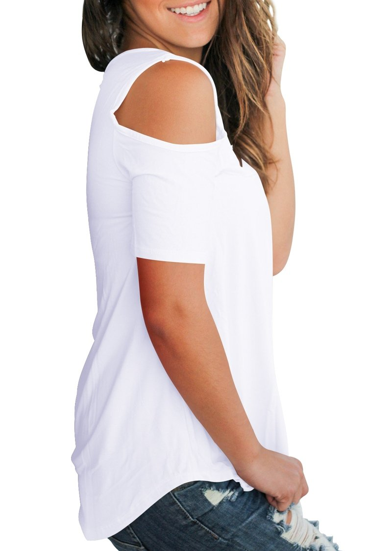 Smalnnie Cold Shoulder Tunic Tops for Women Plus Size 2018 Tee Shirts Cotton White 2XL by Smalnnie (Image #2)