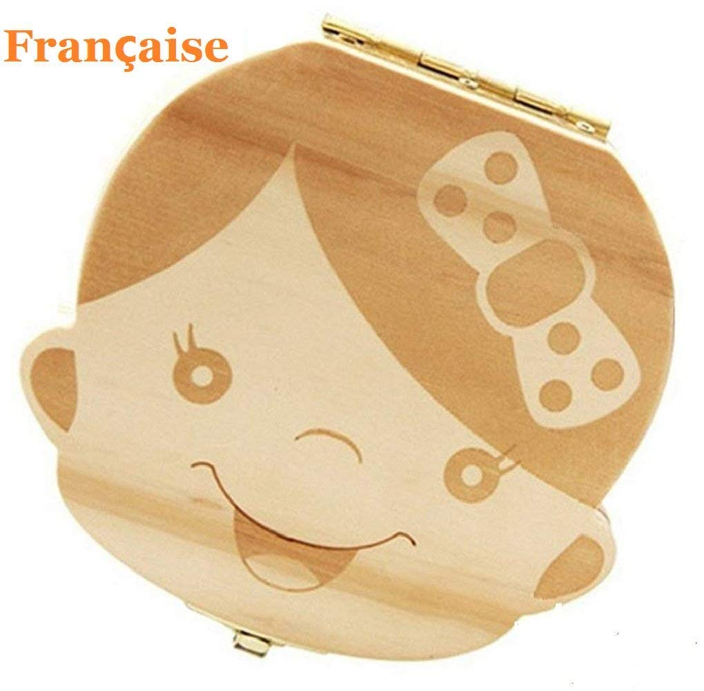 Baby Teeth Box, Wooden Teeth Save Box Souvenir Box Teeth Collection (French, Girl) Amlx English-Girl