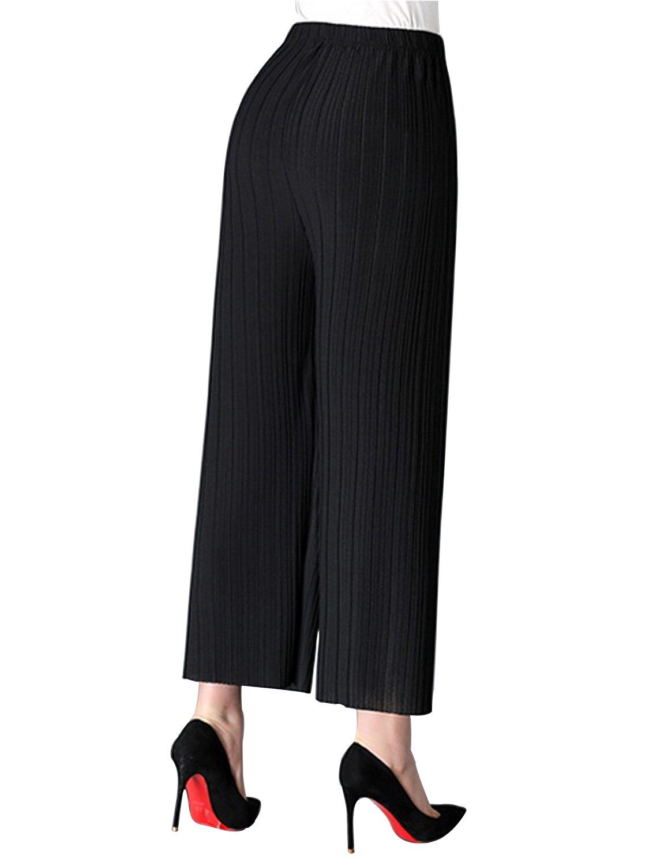 AUSZOSLT Women's One Size Elastic High Waist Wide Leg Flowy Pleated Crop Pants Black by AUSZOSLT (Image #3)