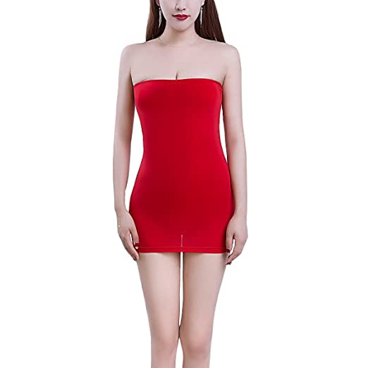 4b3d151afccf OBEEII Women Sexy Lingerie Transparent Tube Dress Exotic Babydoll Stretchy  Bodycon Mini Dress Nightwear Sleepwear Red