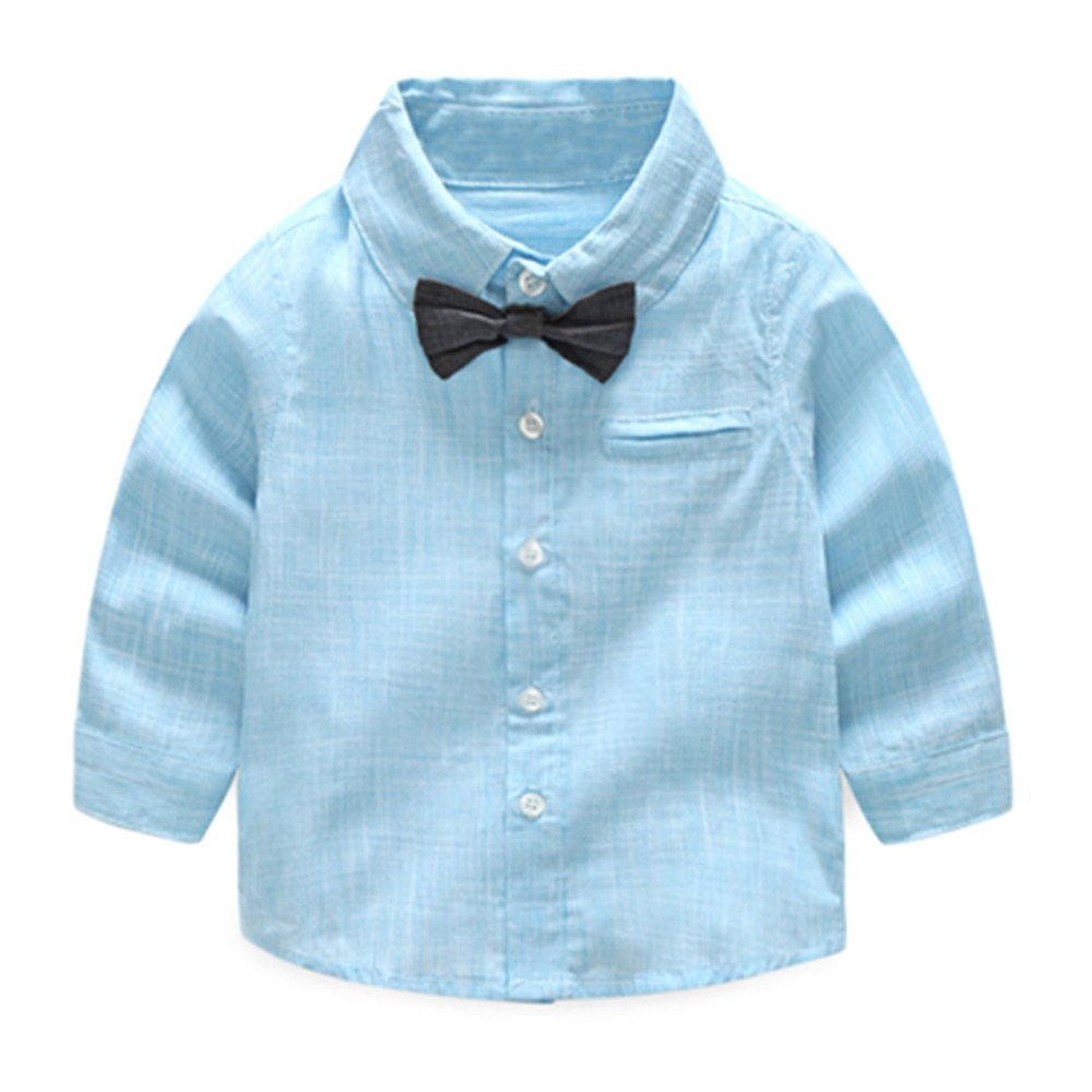 Smartbear Baby Boys Gentleman Clothing Bowtie Blue Stripe Long Sleeve Button up Shirts