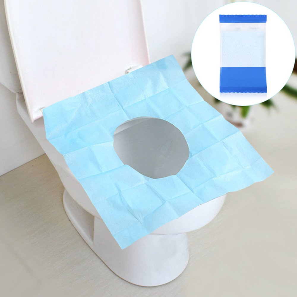 10 PCS Toilet Seat Cover Disposable Portable Paper Cushion Closestool Lid Pads Antibacterial Waterproof Potty Protectors Travel Essential for Hospital Hotels Bathroom WC (Blue)