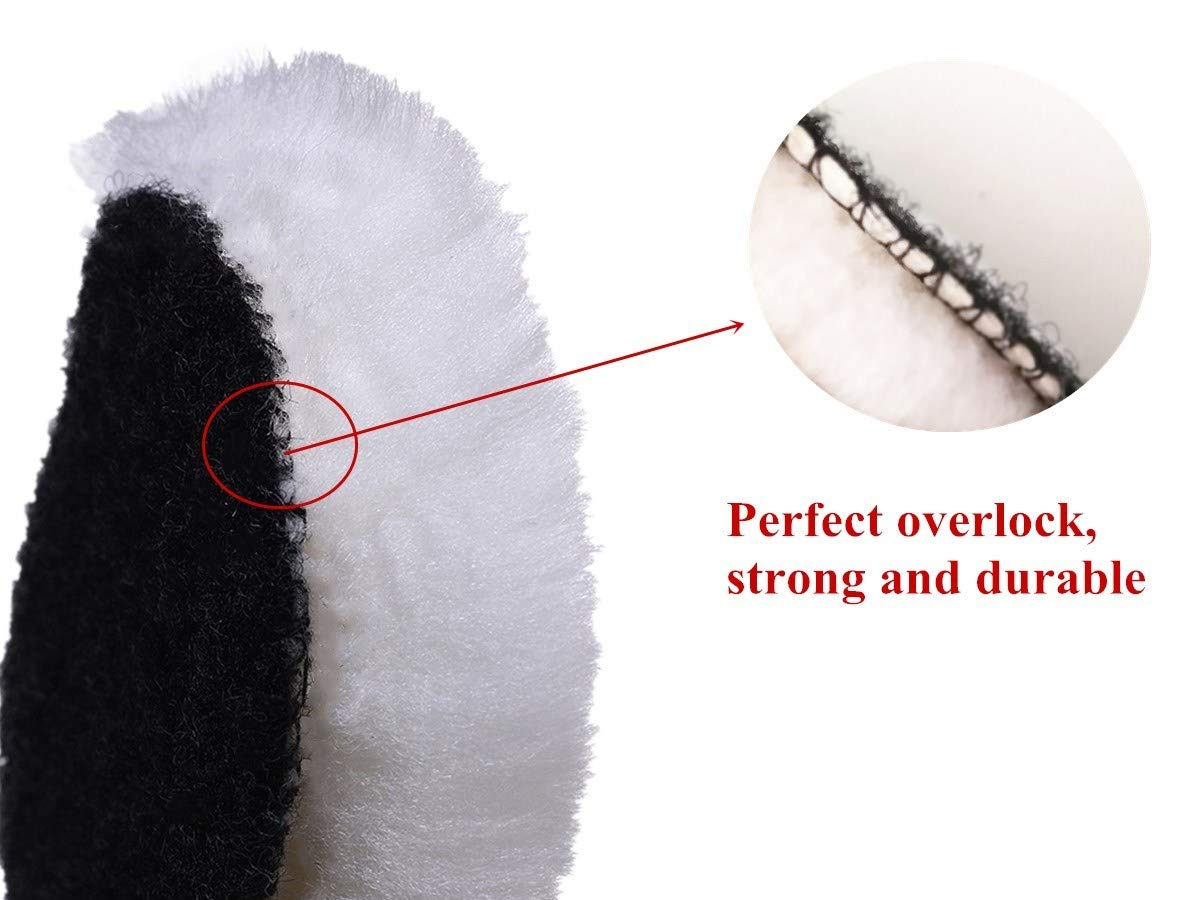 Gracefur Lambs Wool Polishing Buffing Pad Hook and Loop Soft Cutting Pad 3''/4''/5''/6''/7'' Available Polisher for Auto Car 10 pack 4'' by Gracefur (Image #5)