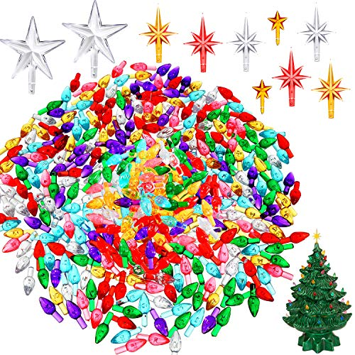 Tatuo 200 Pieces Ceramic Christmas Tree Ornaments Multi Color Plastic Light Decorations for Christmas Trees (Lights and Stars Shape)