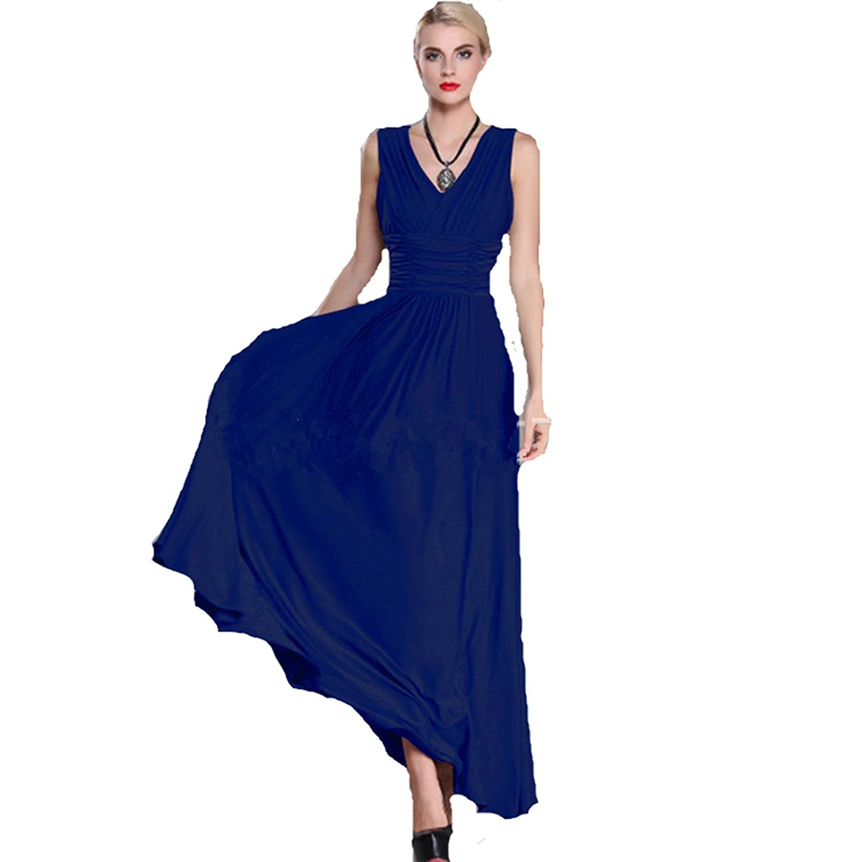 Keepmoving V-Ausschnitt Lang Maxikleid Strandkleid Partykleid Ärmellos Sommer Kleider 36-50