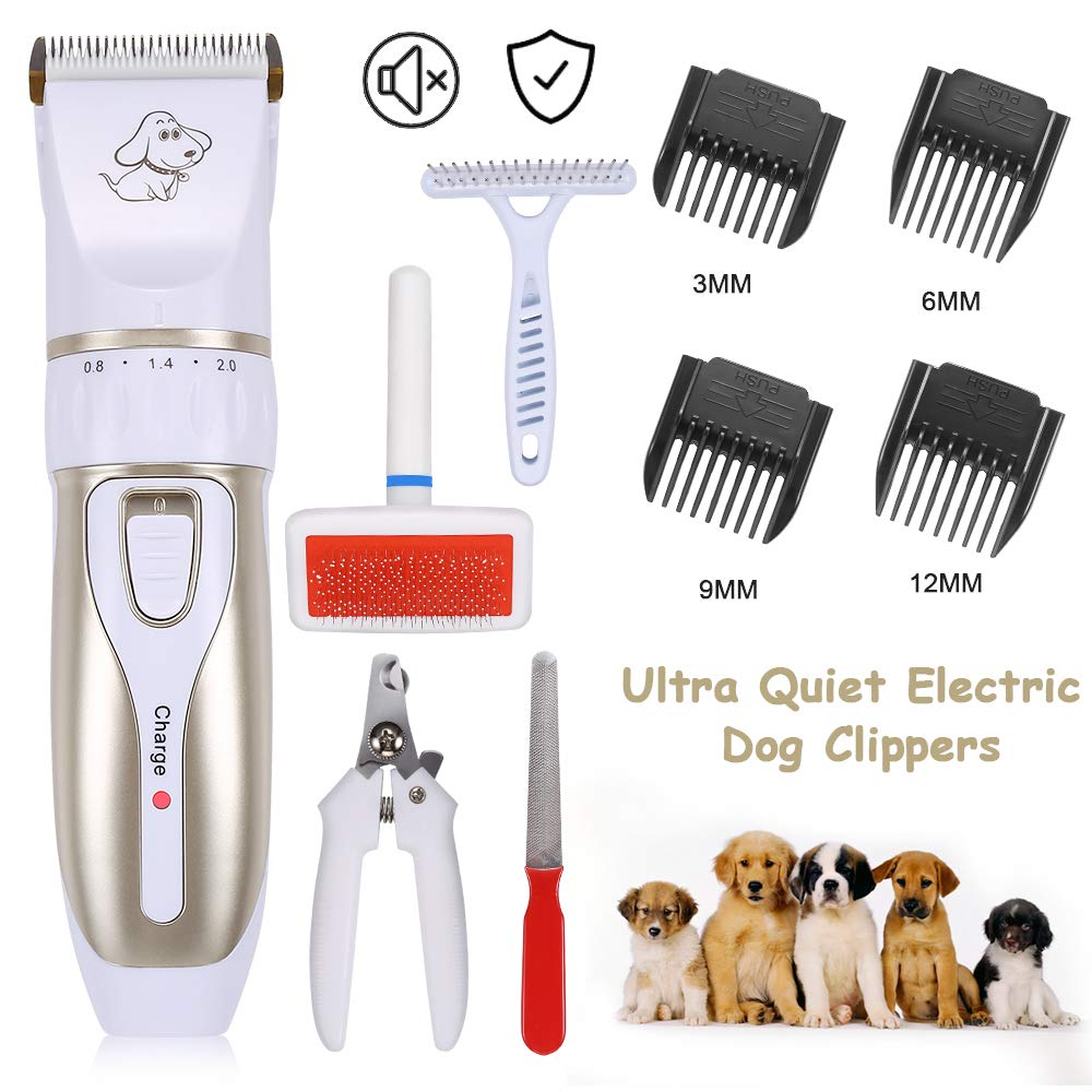 AONOKOY Dog Clippers Low Noise Dog Grooming Kit Rechargeable Cordless Electric Pet Shaver Professional Dog Hair Trimmer Set for Dogs Cats and Other Animals