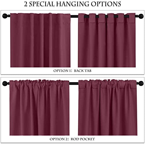 Prim Blackout Curtains Bedroom Back Tab Drapes and Curtains Patio Door 52 W x 63 L Room Darkening Thermal Insulated Curtain, Burgundy Red Color, 2 Panel