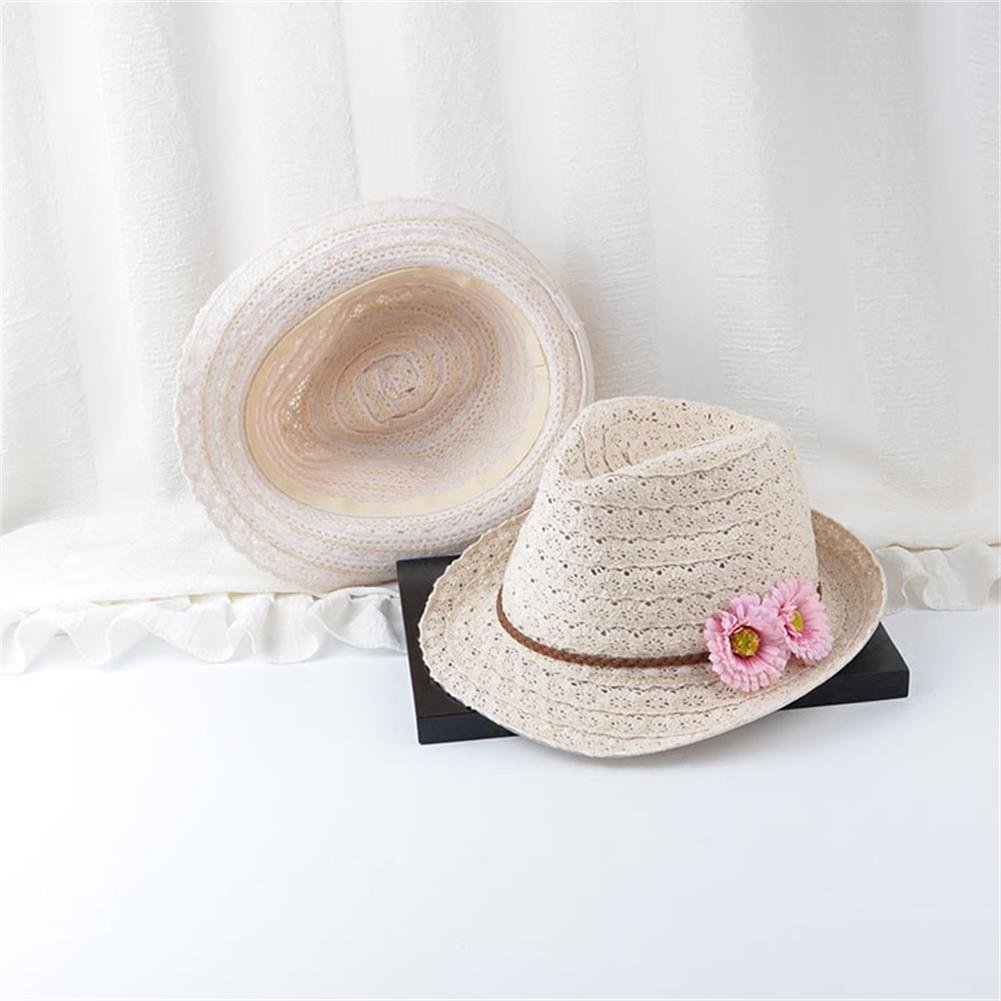 Cupcinu Summer Sun Beach Hats Vented Lace Wide Brim Straw Hats Bolwer Caps Foldable Packable Floppy Fedora Hats Sun Visor with Flowers for Women Grils