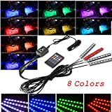 4pcs Car Interior Atmosphere Lights with 8 Color 9 LED light, Car Interior Footwell Lighting Kit, Neon Decoration Lights Strip with Sound Active Function and Wireless IR Remote Control