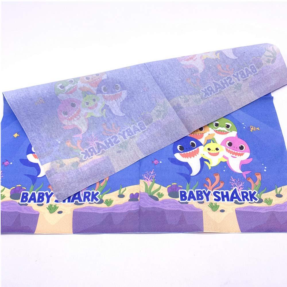 Baby Shark Napkins Birthday Party Supplies Under the Sea//Summer Shark Theme Napkins
