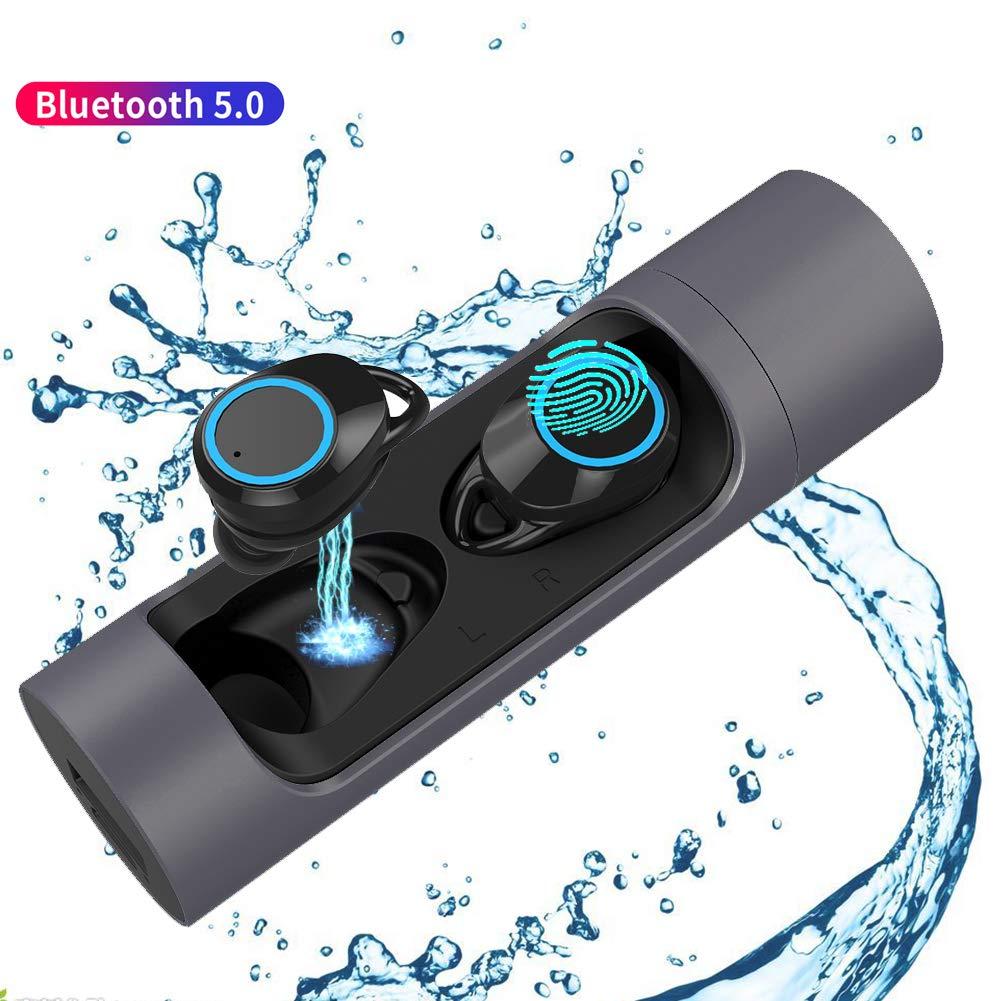 Wireless Earbuds, TWS Bluetooth 5.0 Earphone Smart Noise Cancelling Stereo HIFI Sound Headset 2000mAh Waterproof wireless Headphones with Microphone (BLACK)