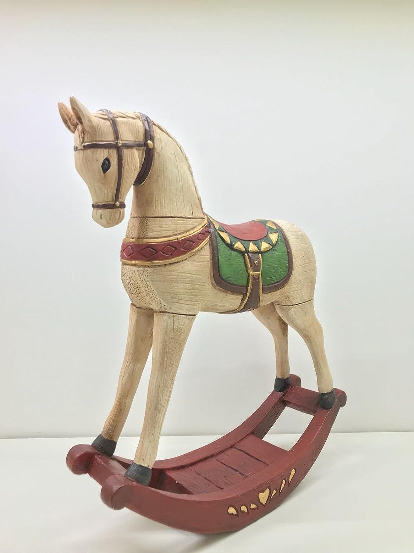 cavallo a dondolo in resina decorato H 33 cm L 26 cm art .TM76 belombre