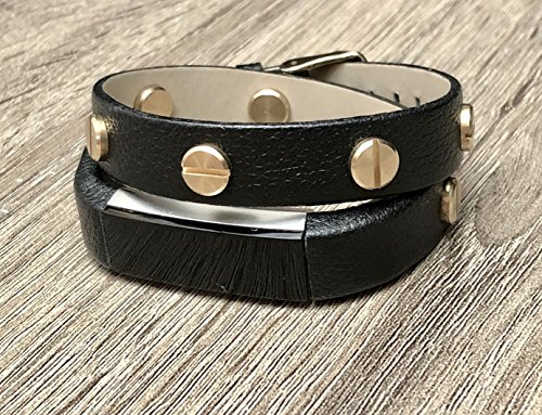 Double Wrap Black Leather Bracelet For Fitbit Alta & Alta HR Fitness Activity Tracker Handmade Grained Vintage Design Fitbit Alta Band Gold Colored Metal Jewelry Rivets Adjustable Fashion Wristband