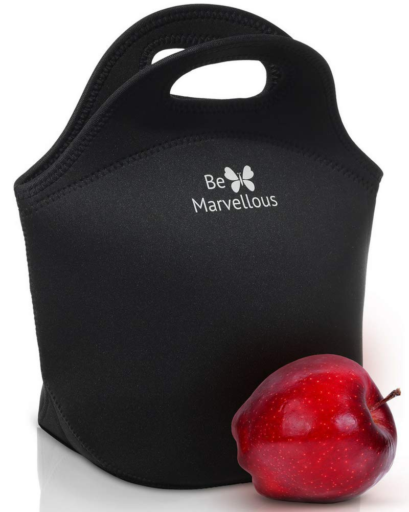 Neoprene Lunch Bag Box for Women Girls Teens Adults Kids - Back to School Supplies - Adult Lunch box for Work Office Travel College - Large - Best Black Be Marvellous