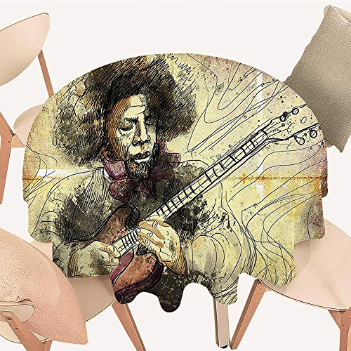 Virtuoso Horn - Premium Round Tablecloth Guitar Virtuoso a Hand Drawn Style Illustration of a Guitar Player Musician Everyday Use, 47 INCH Round