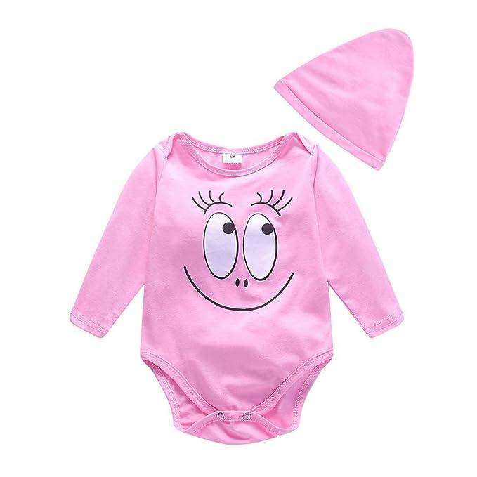 2PCS Bebé niña niño manga larga camiseta tops dibujos cara sonriente mono+Sombrero Conjunto,