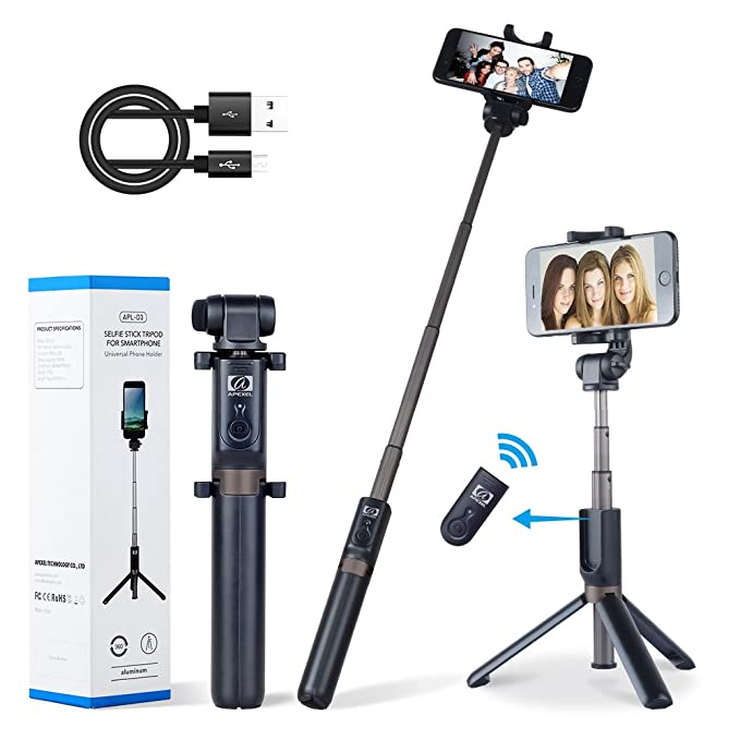new product 88516 673ba Apexel 2-in-1 Extendable Selfie Stick Monopod Tripod Stand with Wireless  Remote Shutter for iPhone Xs/XS Max/XR/X/8/8 Plus/7/7 Plus/6s/6 Plus,  Galaxy ...