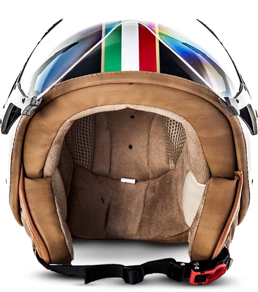 """61-62cm SOXON/® SP-325 /""""Usa/"""" /· Jet-Helm /· Motorrad-Helm Roller-Helm Scooter-Helm Bobber Mofa-Helm Chopper /· ECE Visier Schnellverschluss Tasche XL"""